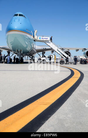 President Barack Obama disembarks Air Force One at Los Angeles International Airport in Los Angeles, Calif., July - Stock Photo