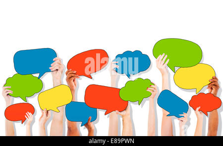 Group of Hand Holding Speech Bubble Icons - Stock Photo