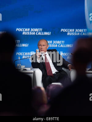 Moscow, Russia. 2nd Oct, 2014. Russian President Vladimir Putin attends the sixth 'Russia Calling' international - Stock Photo