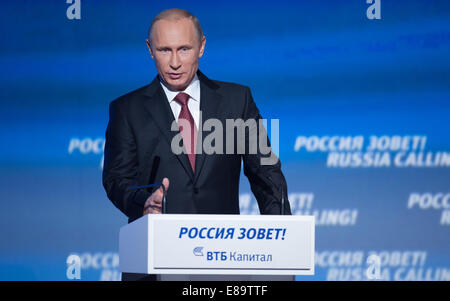 Moscow, Russia. 2nd Oct, 2014. Russian President Vladimir Putin speaks during the sixth 'Russia Calling' international - Stock Photo