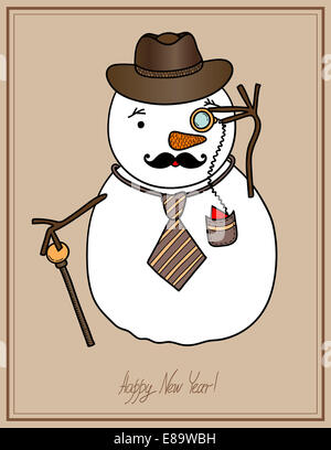 original hipster snowman in a hat, tie, mustache with monocle, c - Stock Photo
