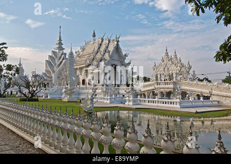 The White Temple of Wat Rong Khun, Buddhist-Hindu temple complex, Chiang Rai Province, Thailand - Stock Photo