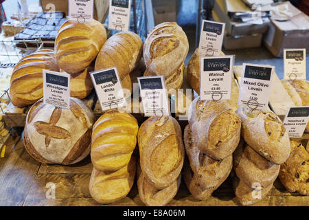 Bread stall, Borough Market, Southwark, London, England, United Kingdom - Stock Photo