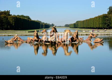 Fountain of Apollo in the Park of Versailles, Paris, Île-de-France, France - Stock Photo
