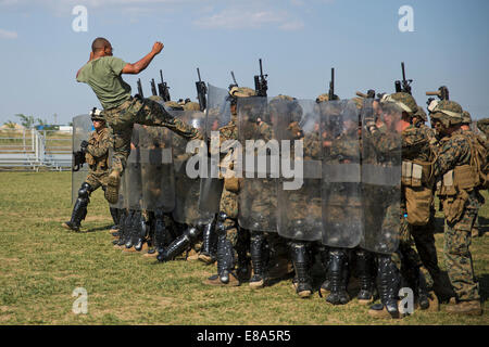 U.S. Marines with Golf Company, 2nd Battalion, 2nd Marine Regiment, assigned to Black Sea Rotational Force 14-2A, - Stock Photo