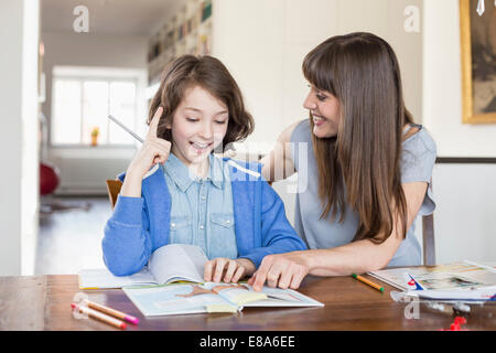 Mother helping daughter in homework, smiling - Stock Photo