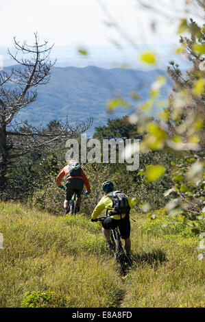 two mountain bikers on the way downhill, Vipava valley, Istria, Slovenia - Stock Photo