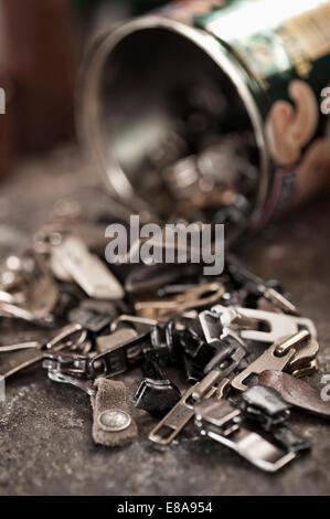 Zippers in a cobbler's shop - Stock Photo