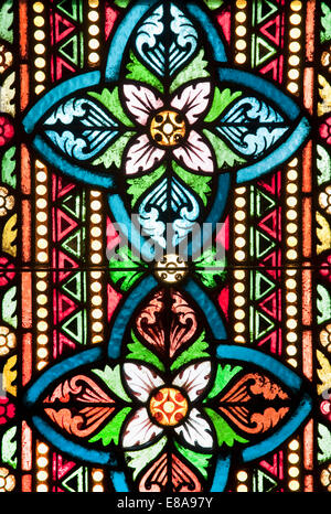 View of stained glass window in Mathias Church, Budapest, Hungary - Stock Photo