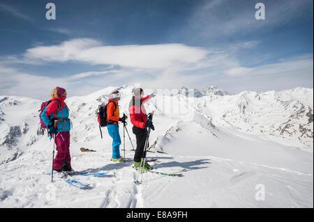 Ski group mountains alps view snow winter - Stock Photo