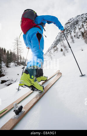 Detail close-up man cross-country skiing - Stock Photo