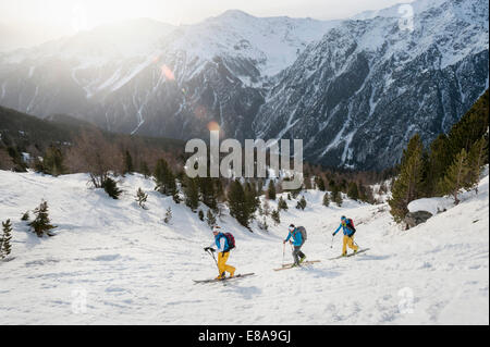 Winter landscape skiing tour cross-country - Stock Photo