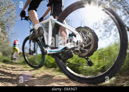 Men racing electic-mountainbikes off-road - Stock Photo