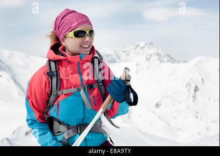Woman cross-country skier Alps winter - Stock Photo