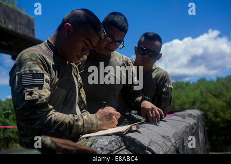 U.S. Soldiers with Alpha Company, 1st Battalion, 294th Infantry Regiment, Guam Army National Guard survey a perimeter - Stock Photo