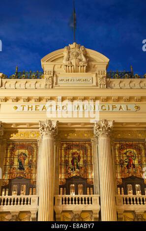 Municipal Theatre (Theatro Municipal) at dusk, Cinelandia, Centro, Rio de Janeiro, Brazil - Stock Photo