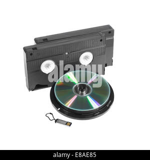 Cartridges, compact disk and flash memory card isolated on white background - Stock Photo