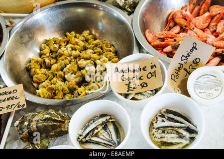 Fresh seafood on sale in the traditional harbour shop, Southwold, Suffolk, UK - Stock Photo