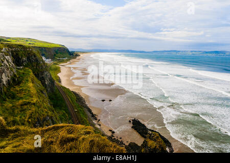Mussenden Beach, Downhill, Co. Londonderry Northern Ireland. The railway journey here is said to be one of the best - Stock Photo