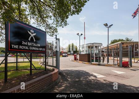 Entrance to The Royal Gurkha Rifles Barracks at Folkestone. - Stock Photo