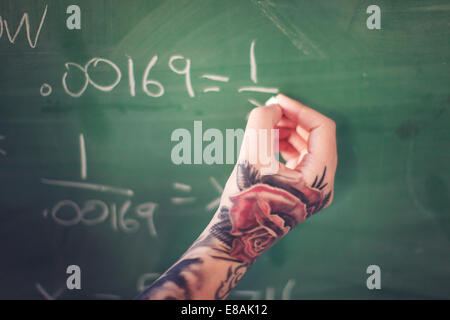 Tattooed hand writing on board - Stock Photo