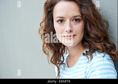 Close up of woman with freckles - Stock Photo