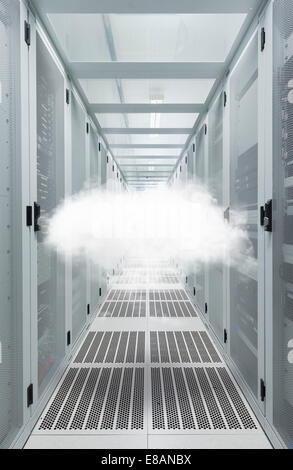 Mid air cloud in data centre cabinet - Stock Photo