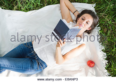 Overhead view of mid adult woman reading on picnic blanket in park - Stock Photo