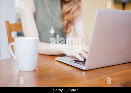 Cropped shot of young woman typing on laptop at dining room table - Stock Photo