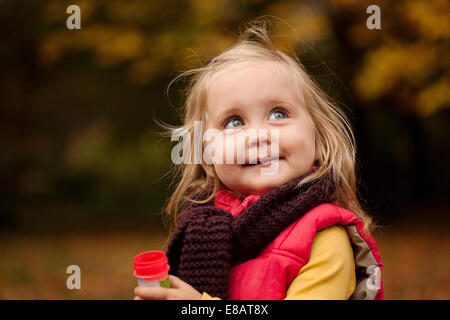 Young girl with blonde hair, portrait - Stock Photo