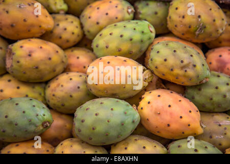 Prickly Pears on the market in Agadir, Morocco - Stock Photo