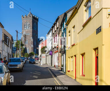View up Green Street towards St Mary's Church, Dingle, Dingle Peninsula, County Kerry, Republic of Ireland - Stock Photo