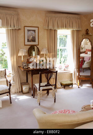 White Carpet And Cream Curtains In Beamed Country Living Room ...
