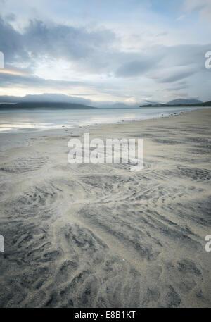 Sand patterns on Seilebost Beach, Isle of Harris, Outer Hebrides, Scotland - Stock Photo