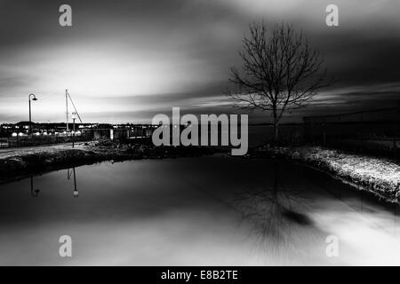 The waterfront at night, in Havre de Grace, Maryland. - Stock Photo