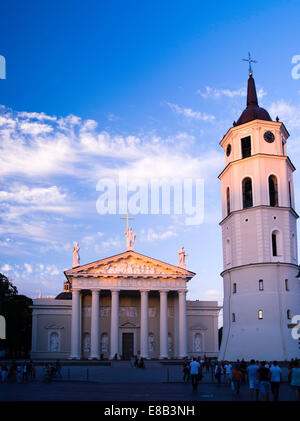 Sunset view of the Vilnius Cathedral & Clock Tower, Vilnius, Lithuania - Stock Photo