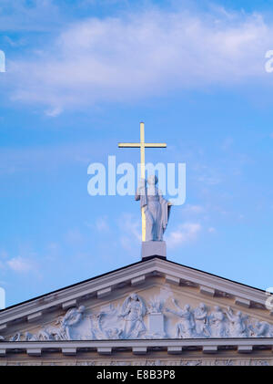 Sunset view of the Vilnius Cathedral, Vilnius, Lithuania - Stock Photo