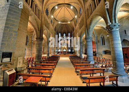 Spain, Navarra: Interior view of the medival pilgrim´s church La Colegiate de Santa Maria in Roncesvalles - Stock Photo
