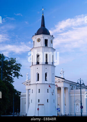 Sunset view of the Vilnius Cathedral Clocktower, Vilnius, Lithuania - Stock Photo