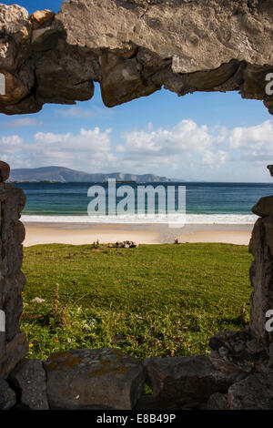 Keem Strand, Achill Island, Mayo, 26th September 2014, looking out over Keem Strand and the Mayo coastline on Irelands - Stock Photo