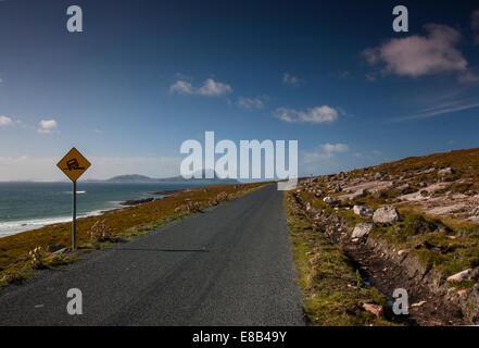coast road, Achill, Mayo, September 26th 2014, Along the Wild Atlantic Way to Achill Island County Mayo on Irelands - Stock Photo