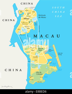 Macau Political Map. Special Administrative Region of the People's Republic of China and the world's largest gambling - Stock Photo