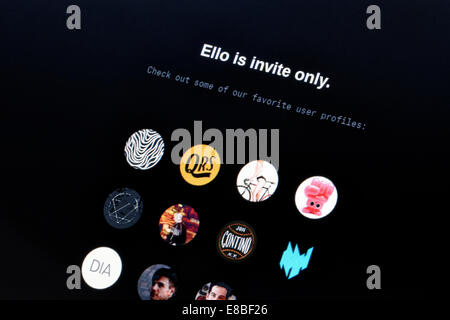 ELLO splash screen on a laptop computer - Stock Photo
