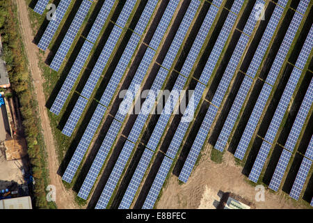 aerial view of solar panels on a solar farm in Lincolnshire - Stock Photo