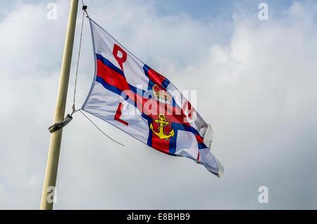 RNLI Flag at Southend on Sea - Stock Photo