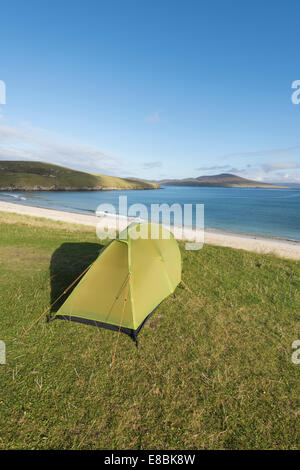 Camping at Horgabost, Isle of Harris, Outer Hebrides, Scotland - Stock Photo