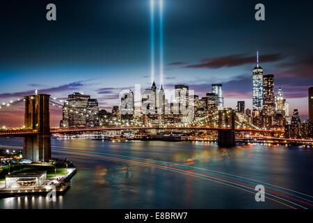 Tribute in Light memorial on September 11, 2014 in  New York - Stock Photo