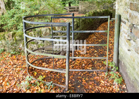 Kissing gate on rural footpath, South Yorkshire - Stock Photo