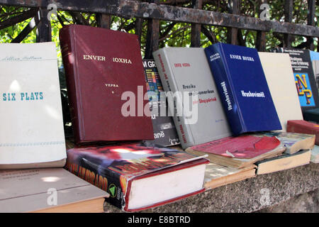 Books by and about Enver Hoxha on sale outside the late dictator's former residence in Tirana, Albania - Stock Photo