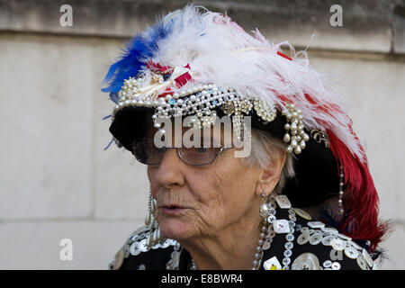 Pearly Kings and Queens known as pearlies London England - Stock Photo